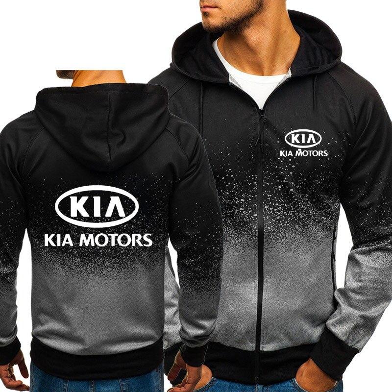 Sudaderas con capucha para hombre, diseño de logotipo Casual KIA Motors, sudaderas de lana con capucha de color degradado de estilo hip hop y Harajuku, chaqueta con cremallera para hombre