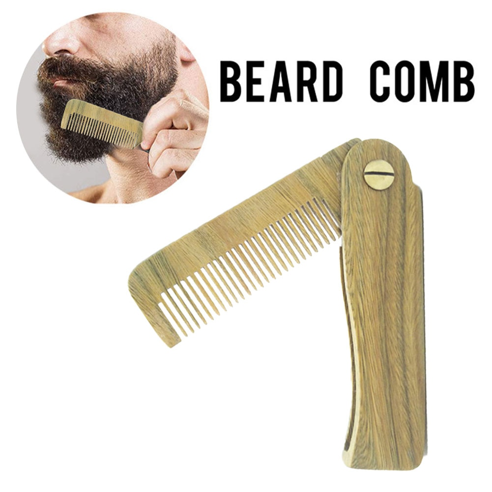 Natural Sandal Wood Fold Comb Hair Comb For Men Beard Care Anti-Static Wooden Comb Hair Care Tools Hair Brush Pocket Comb 1pc