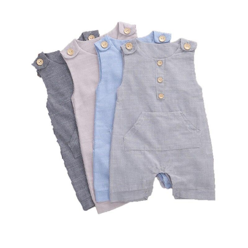 2020 летняя одежда для малышей, комбинезон в полоску с пуговицами для новорожденных мальчиков, Модный комбинезон без рукавов, хлопковый льняной комбинезон
