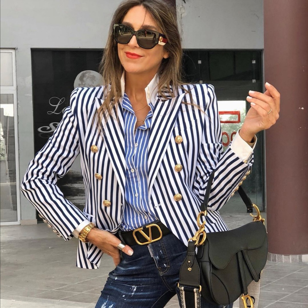 KALENMOS Coat Female Long Sleeve Stripe Blazers Abrigos Jacket Autumn 2021 Clothes for Slim Women Elegant Office Work Coats