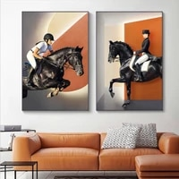 Toile de cheval moderne  affiches dart murales abstraites  impression n  mode  image Orange pour salon  decor de maison sans cadre