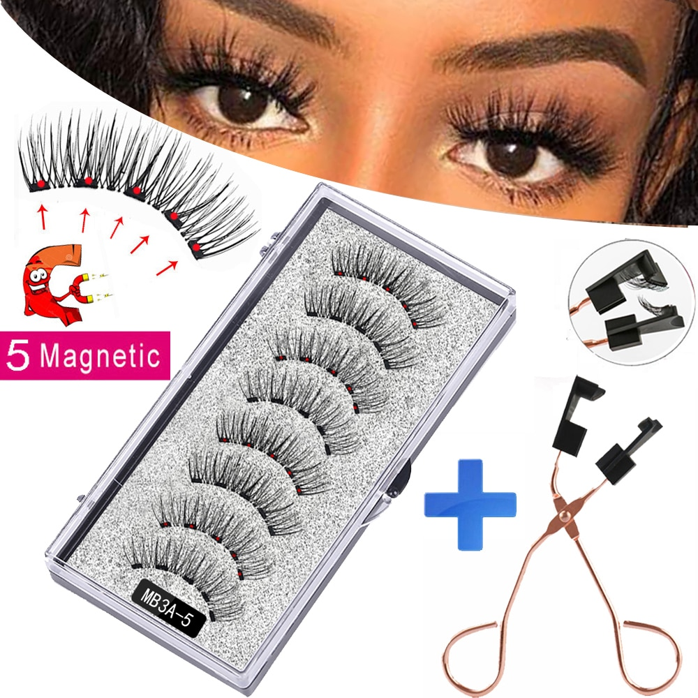 New MBA 5 Magnetic Eyelashes Curler Set Long 3D Mink Magnetic lashes Wear faux cils magnetique Natural Thick False Eyelashes