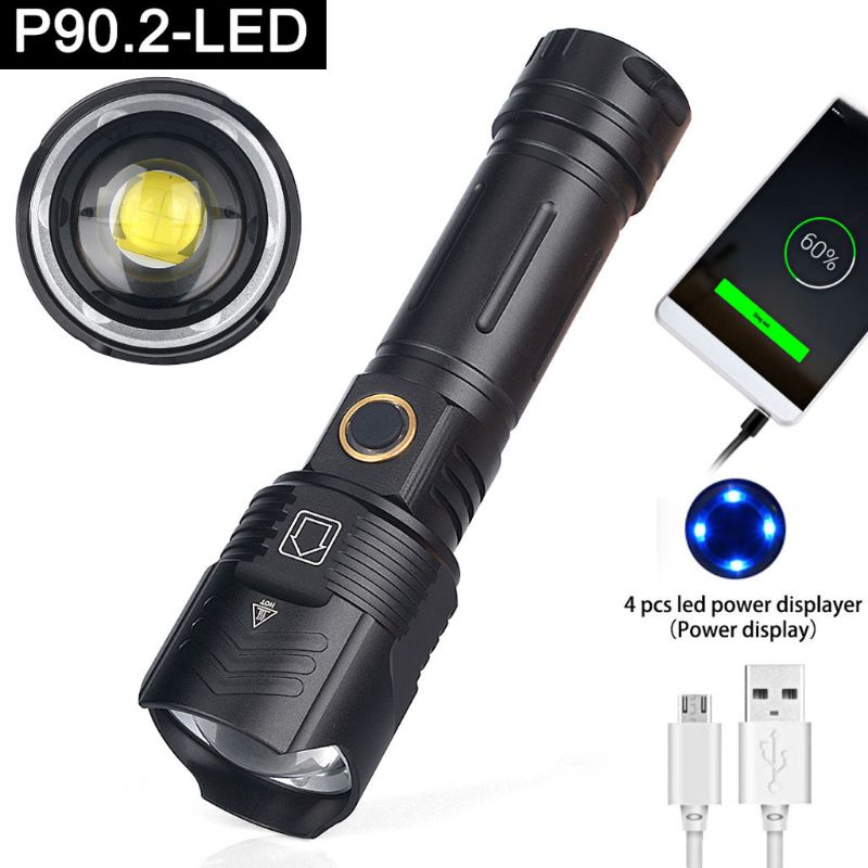 Linterna para acampar al aire libre impermeable Metal 18650 26650 batería 5 modo P90 LED Tourch cargador de salida USB para teléfono móvil