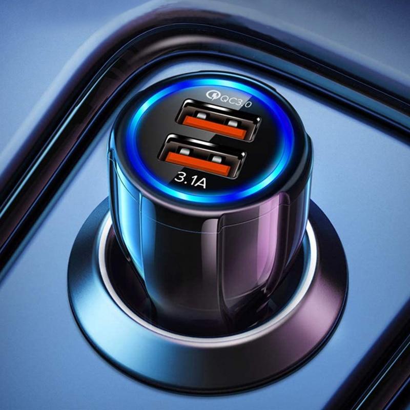 Автомобильное зарядное устройство USB Quick Charge 3,0 Автомобильное зарядное устройство прикуриватель адаптер двойной USB быстрая зарядка автомоб...