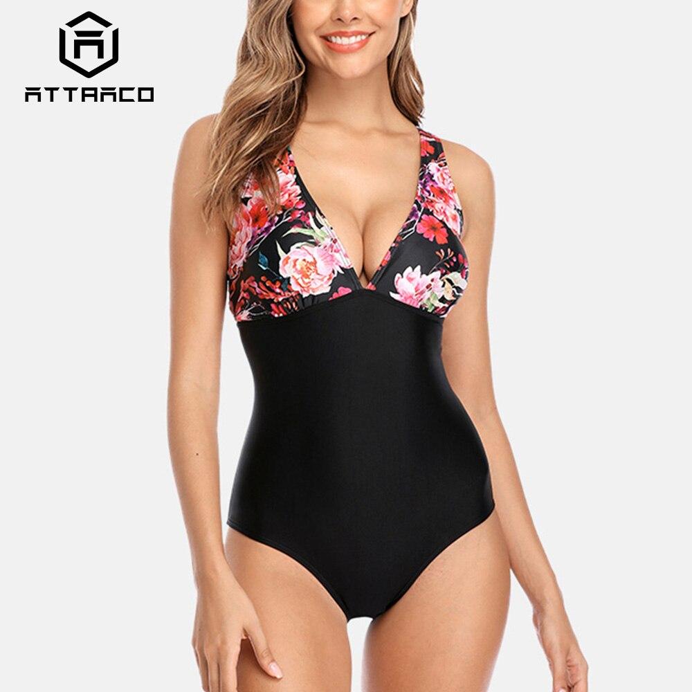 Attraco Women Swimsuit One-piece Floral Print Backless V Neck Patchwork Back Cross Sexy Bikini Beachwear Bathing suit