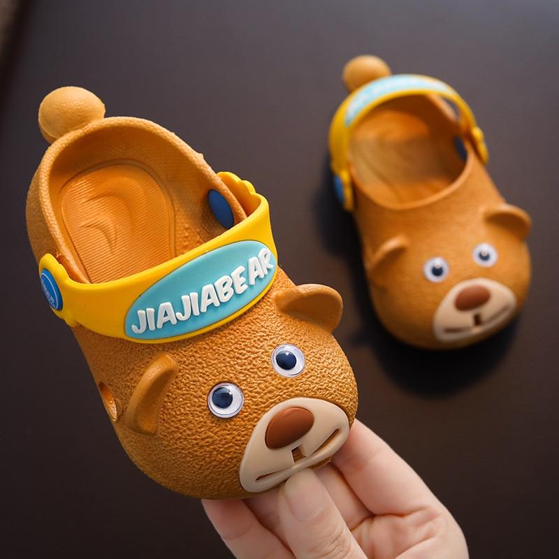 Zapatillas para niños, zapatos de cueva de verano para niños, zapatillas de bebé antideslizantes con fondo suave y cabeza de perro, zapatos de playa para chicas de 1-3 años