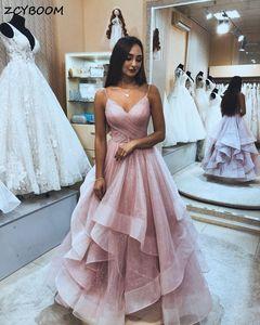 2021 Sequins Pink Prom Dresses Women Formal Party Elegant Ruffles A-Line Vestidos De Gala Spaghetti Straps Long Evening Gowns