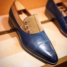 Men's handmade button decoration low-heeled retro classic formal wear blue PU stitching brown suede