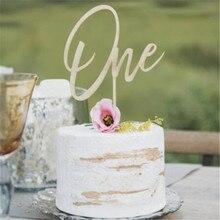 Décoration de gâteau pour premier anniversaire   Décoration pour fête prénatale anniversaire en bois modèle 1 pour premier anniversaire