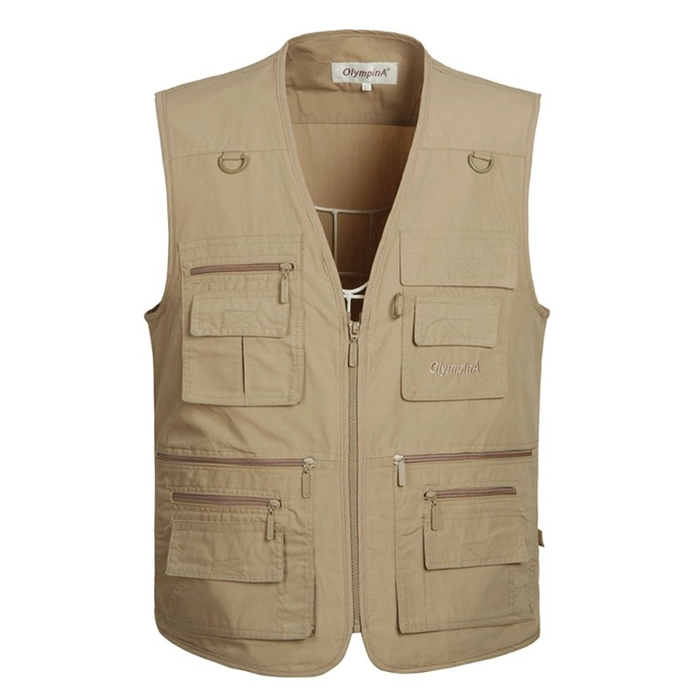 6 Colors Large Size Quick-Drying Work Vest Mens Fishing Camping Sleeveless Jacket Outdoor Male Waistcoats with Many Multi Pocket
