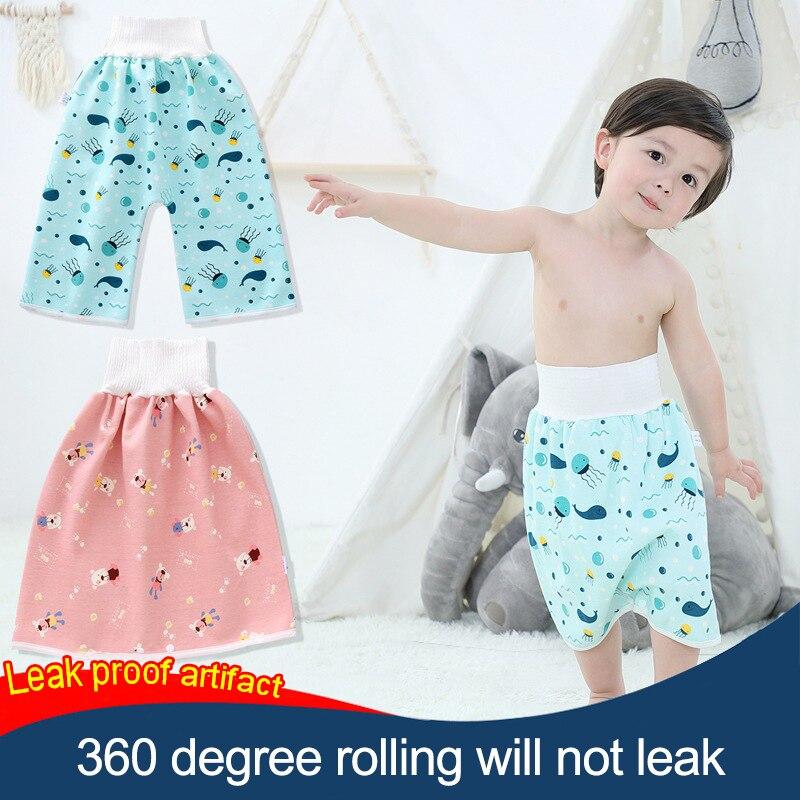 Fralda saia para meninos mais velhos calças de treinamento potty reutilizável lavável leakproof pano fralda crianças comfy urina aprendizagem shorts