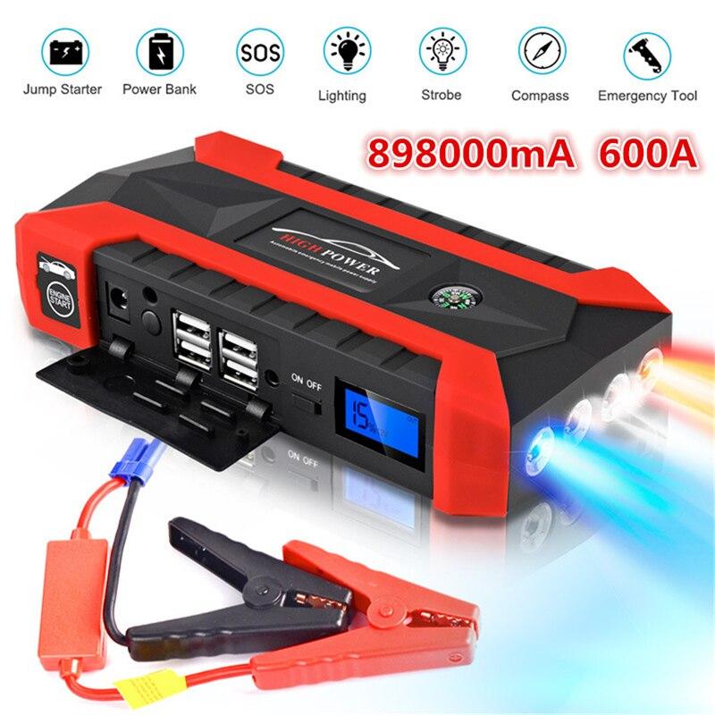 89800mAh Высокая Мощность Стартер автомобиля 12V 4USB портативное пусковое устройство банк питания Автомобильное зарядное устройство для автомобиля батарея бустер