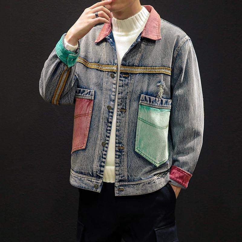 Chaqueta de mezclilla gruesa de otoño para hombre, chaqueta de mezclilla informal de Color de contraste Retro, chaqueta de bombardero holgada de Hip Hop para hombre