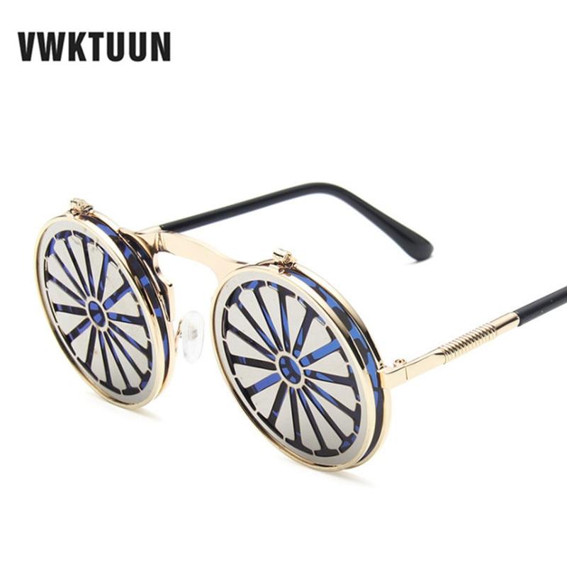 Gafas de sol VWKTUUN Vintage Steampunk montura de Metal para hombres y mujeres gafas de sol redondas Punk gafas de sol Retro gafas de sol UV400