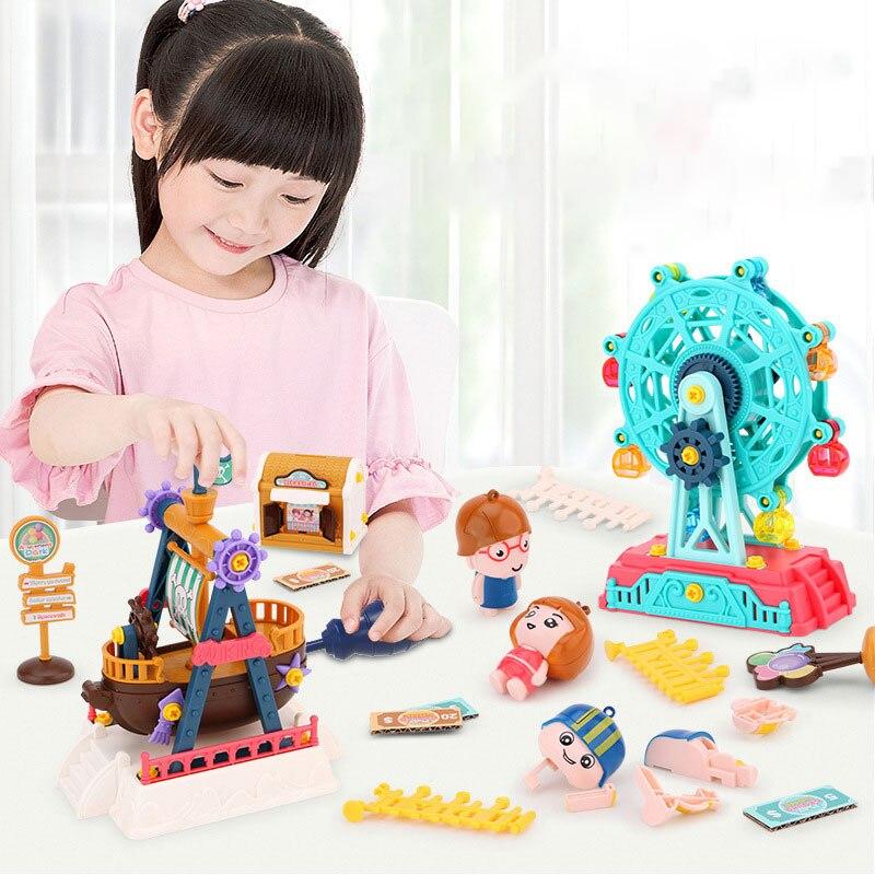Строительные блоки большого размера, кирпичи, игрушки, колесо обозрения, бампер, карусель, модель автомобиля, сделай сам, парк развлечений, к...