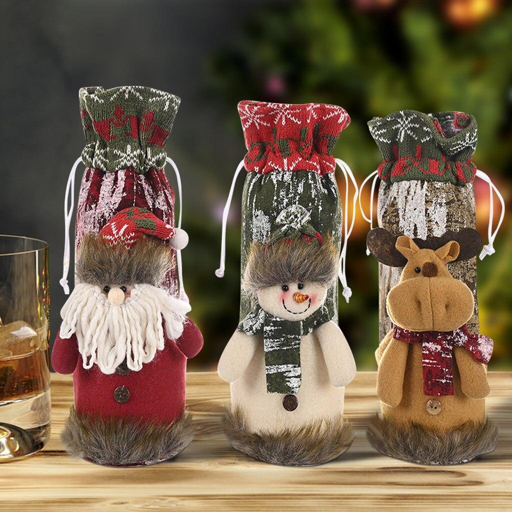 Funda navideña para botella de vino, decoración navideña de punto de corteza...