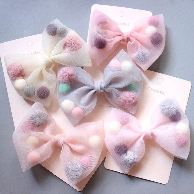 Coreano nuevo Estilo Princesa pelota de peluche colorida hilo de red lazo pato pico clip LATERAL accesorios para el cabello rosa
