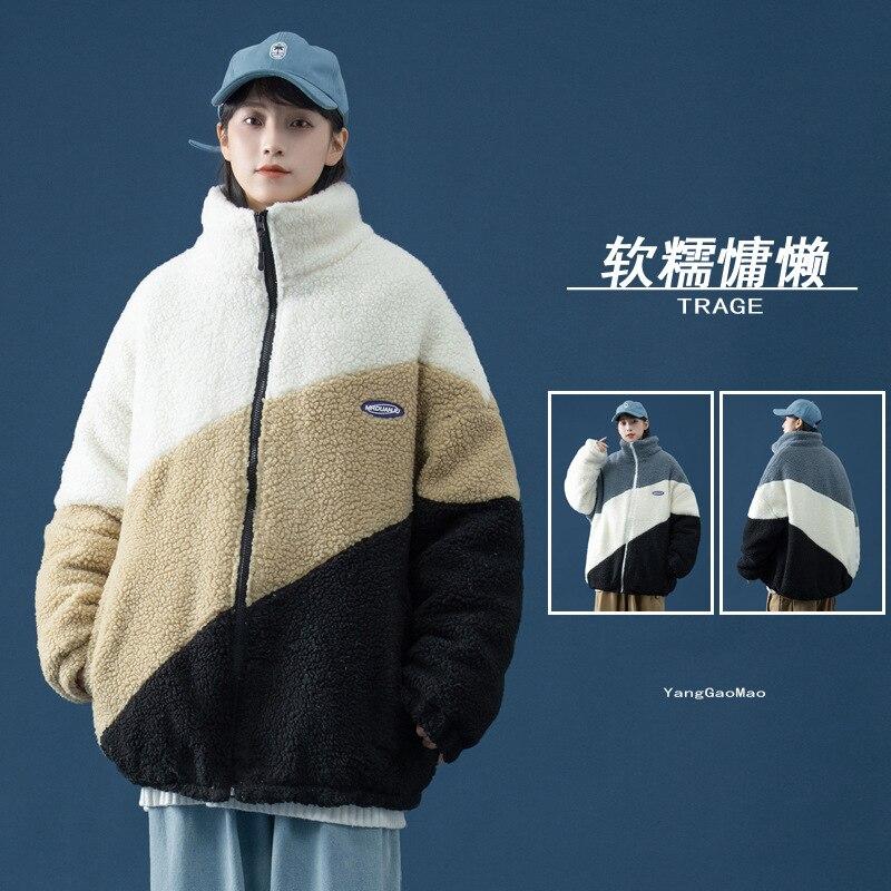خروف المخملية سترة المرأة الاتجاه الشتاء فضفاض اللون مطابقة وسادة مبطنة سميكة الدافئة والضوء العلوي