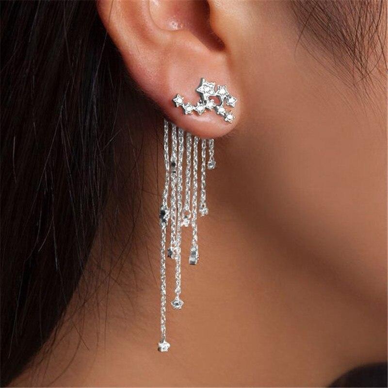 2020 Earings long women fashion earing for womens dangling 1 pair Shooting star Rhinestone Tassels Drop Earrings Gold Silver