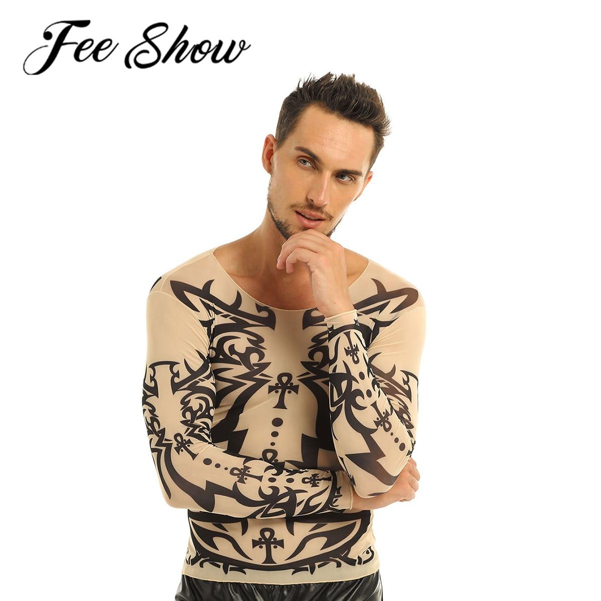 Camiseta de manga larga elástica con diseño de tatuaje falso de feesshow para hombre, Camiseta con cuello redondo y malla para disfraces de Halloween, camisetas de Carnaval