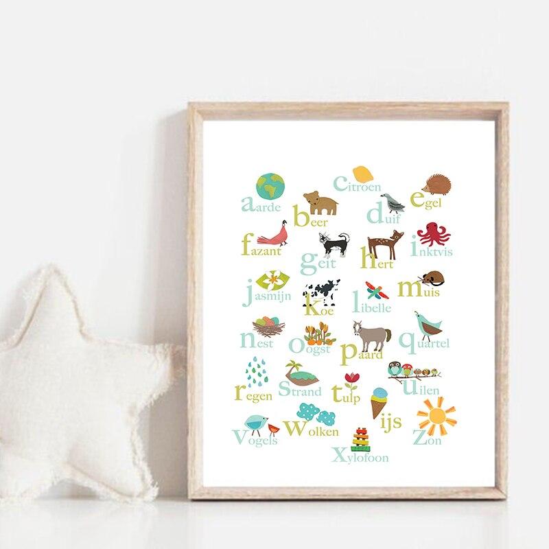 Impresiones en lienzo del alfabeto holandés, imagen artística de pared educativa, animales...