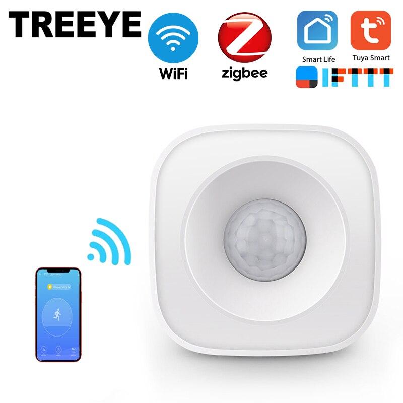 TREEYE WiFi Human Body Sensor Wireless Smart Body Movement PIR Motion Sensor Zigbee Use With Gateway Tuya Smart Life App
