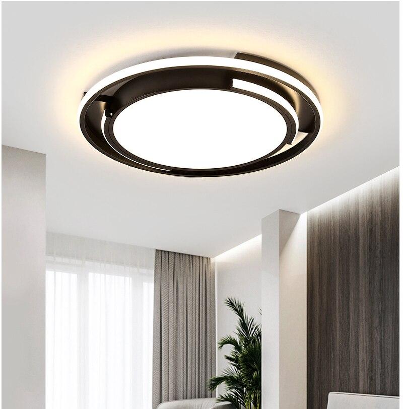 Lámpara led de techo acrílica moderna y minimalista para sala de estar, dormitorio, estudio, pasillo, balcón, personalidad creativa, negro geométrico