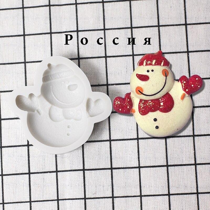 Рождественская силиконовая форма 3D «Снеговик», украшение для шоколадного печенья, торта, замороженные кухонные инструменты для выпечки, то...