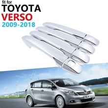 Door Handle Car Accessories for Toyota Verso AR20 20 2009~2018 Chrome Handle Cover Trim Set Car Stickers 2017 2016 2015 2014