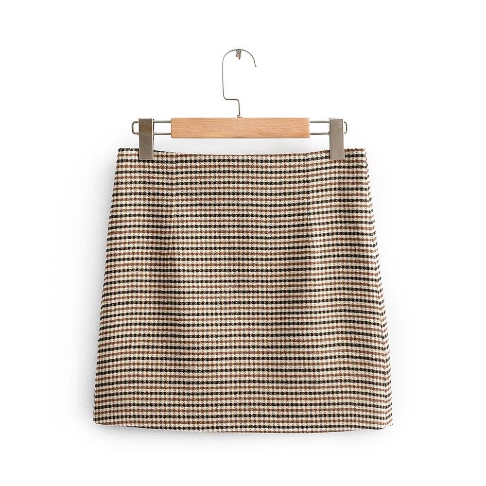 Za women's New Retro High waist A-shape short skirt in early spring 2020 thousand bird mini skirt 08681415707