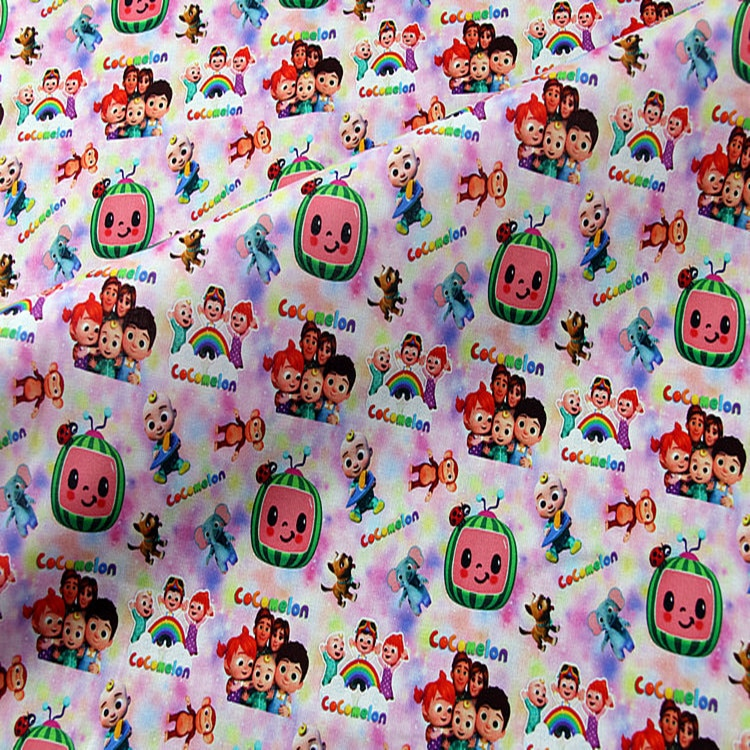 Beautiful 100% Cotton Fabric Cartoon Cocomelon Family  Digital Print Sewing Material DIY Home Patchwork Dress Clothing