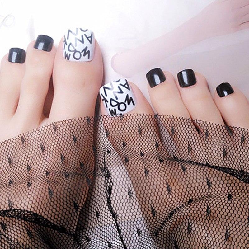 24 unids/set diseño mixto nuevas puntas para uñas de los pies falsas tipo cuadrado acabado superior uñas artísticas manicura puntas DIY decoración caliente SSwell