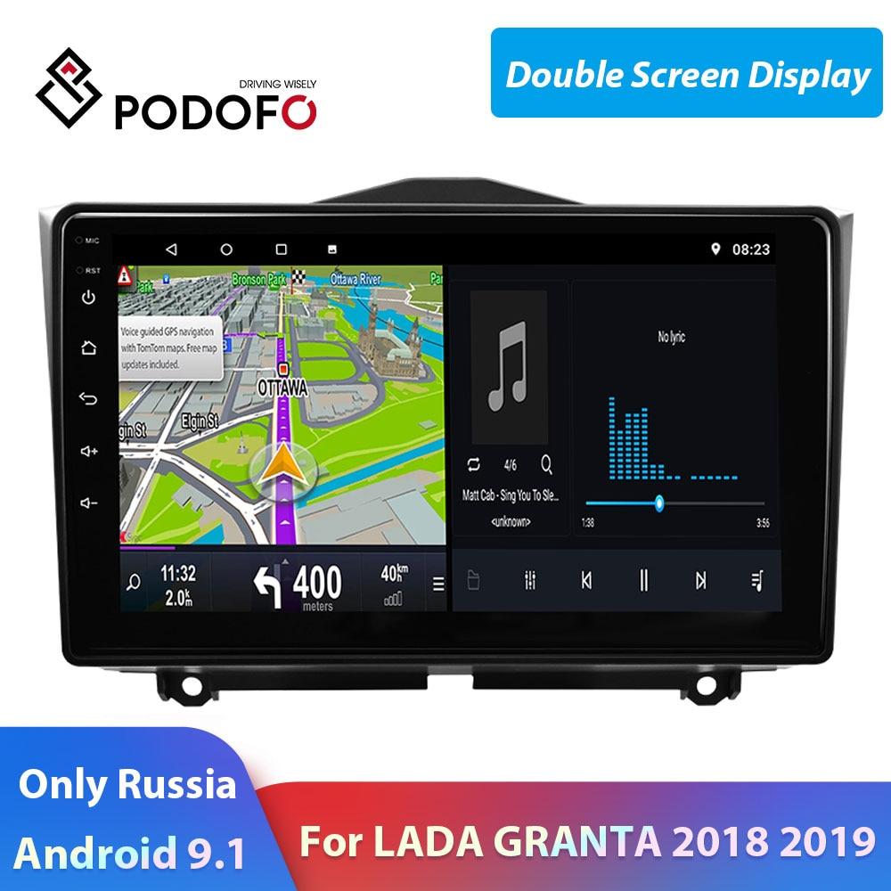 Podofo 2 din android rádio do carro tela dividida carro multimídia jogador de vídeo gps 2 din autoradio para lada granta 2018 2019 estéreo do carro