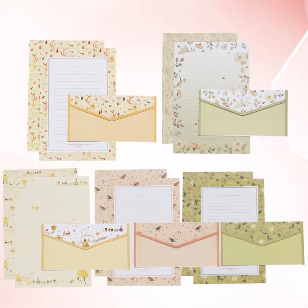 5 Sets/45pcs Flower Printing Envelope and Letter Paper Lovely Writing Stationery Envelopes Kit School Stationery for School (