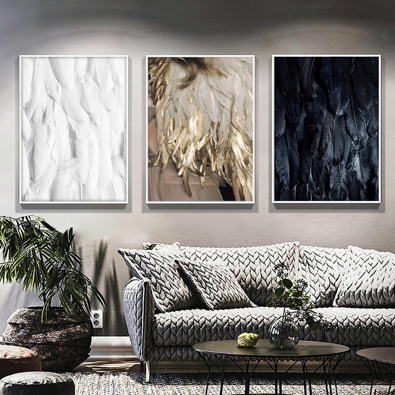 Cuadros modernos de lona póster blanco y negro póster pluma dorada Vogue póster impresión exquisita decoración de pared para pintura para sala de estar