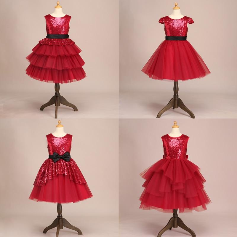 فستان حفلة عيد ميلاد للبنات ، أحمر ، توتو ، زهور ، للفتيات ، للاحتفالات ، الكريسماس ، رأس السنة