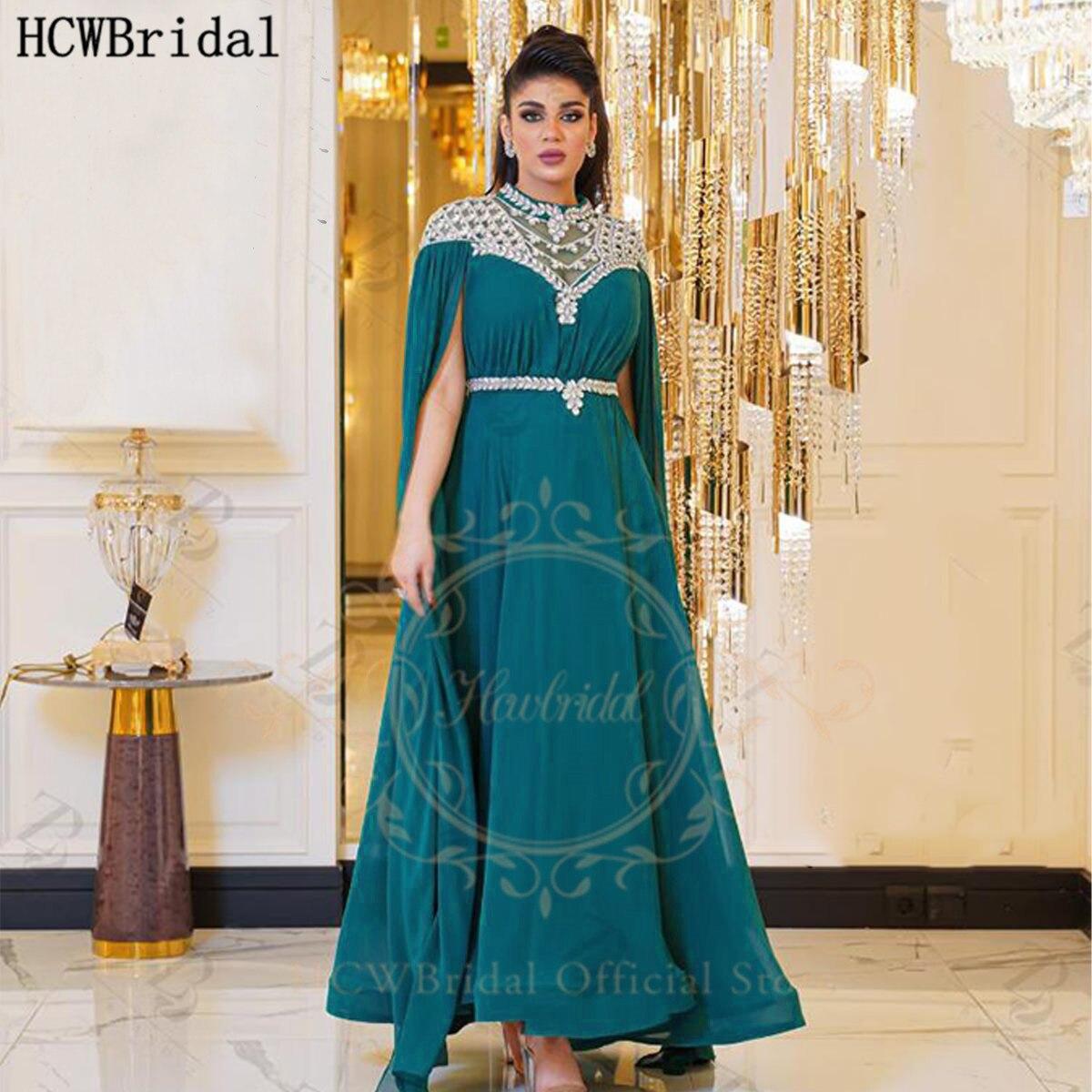 الفيروز 2021 فستان سهرة عربي بأكمام طويلة خط رقبة عالية شيك كريستال شيفون مناسبة رسمية رداء حفلات الزفاف