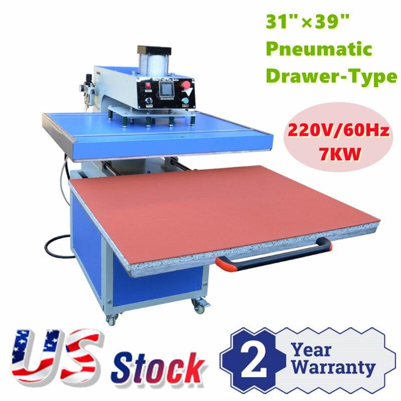US Stock CALCA 31 x 39 Pneumatic Drawer Type Large Format Heat Press Machine 220V 1 Phase