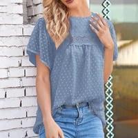 summer womens chiffon shirt hook flower hollow o neck short sleeve tops female plus size elegant fashion office blouses