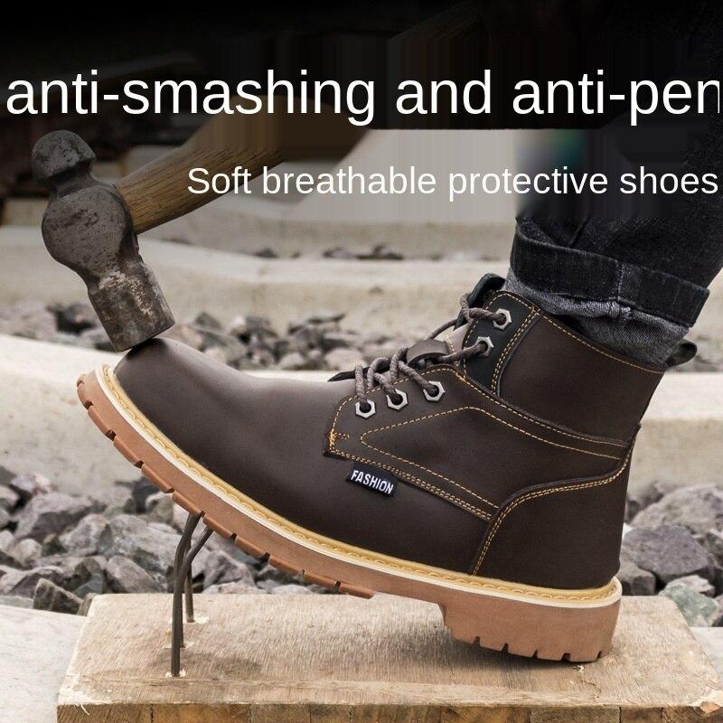 عدم الانزلاق مقاومة للاهتراء مارتن الأحذية النمط البريطاني مكافحة تحطيم مقاومة للاهتراء حذاء امن للعمل حماية التدريب الأحذية