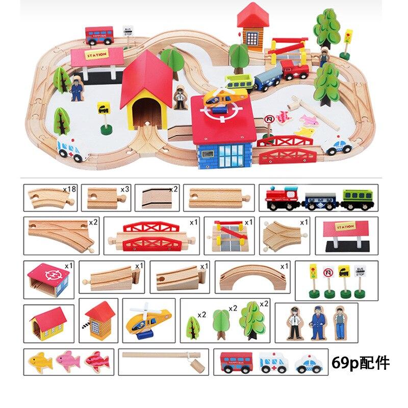 69 piezas juguetes para niños modelo de tren coches de construcción de madera ranura para carril de tránsito garaje colorido bloques de construcción juguete educativo