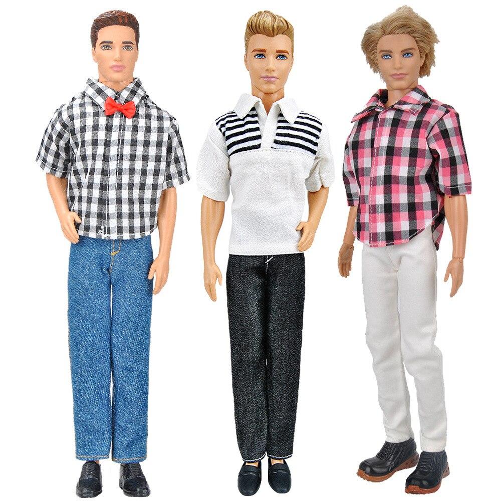 3 conjunto ken boneca roupas terno diário ken casual usar acessórios de boneca menino homem masculino namorado ken pano conjunto para 12 30 30 30cm boneca