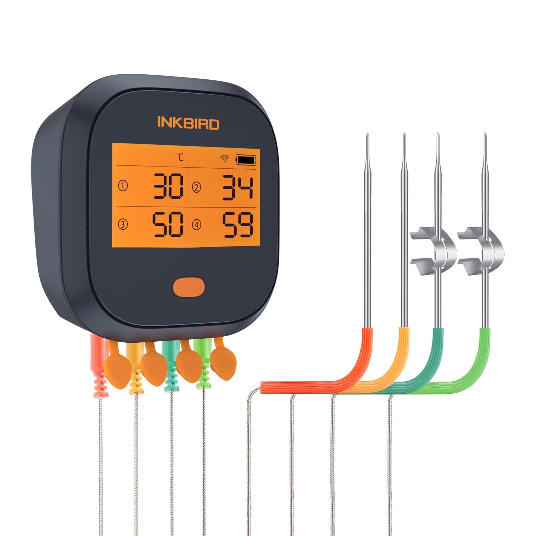 Inkbird IBBQ-4T واي فاي معايرة المغناطيسي شواء الغذاء ميزان الحرارة الرسم البياني والمعايرة مع 4 تحقيقات الفولاذ المقاوم للصدأ