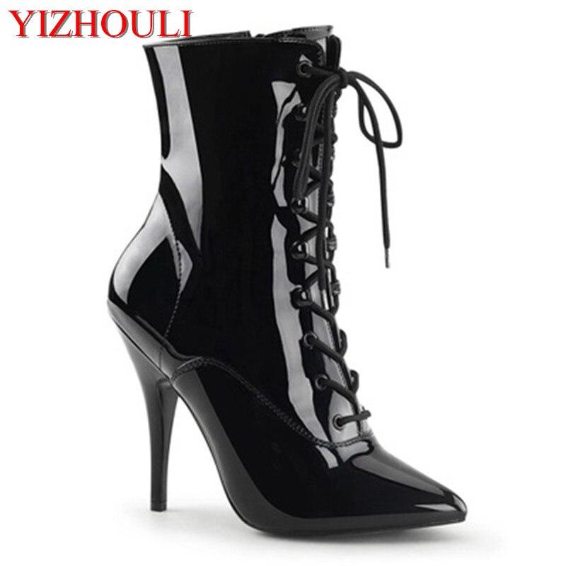 Sapatos de salto alto de 12cm com saltos estreitos, botas de tornozelo preto fosco, tubo de aço europeu e americano sapatos de dança mostrar