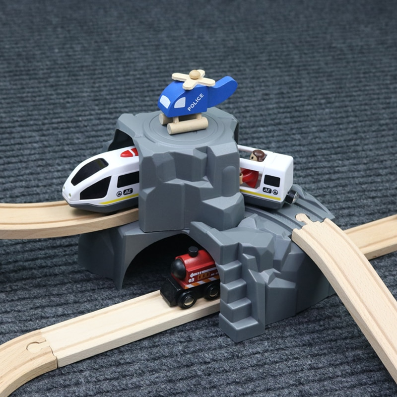 Plastic Grey Double Tunnel Wooden Train Track Accessories For Baby Toy Wood Railway Toys for Kid Gifts
