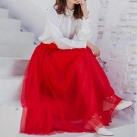 fall winter red extra long mesh skirt office lady vintage expansion bohemian beach travel high street elastic waist skirts