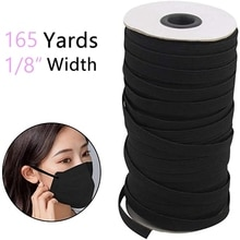 165 Yards Length 1/8 Inch Width Briaded Elastic Bands Knit Elastic Cord Heavy Stretch Elastic String for Sewing Craft, Mask DIY