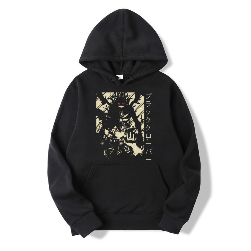 Hoodie Cotton Asta Box Black Clover Cool Japan Anime Print Pullover Street Hip Hop Harajuku Loose Casual Coat Hodded Jacket Mens