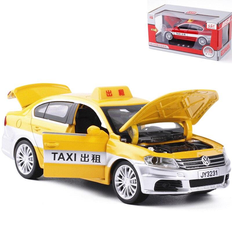 Модель такси из сплава в масштабе 1:32, модель автомобиля с принудительным возвратом, игрушечная машинка-такси, подарок для детей, детские игр...