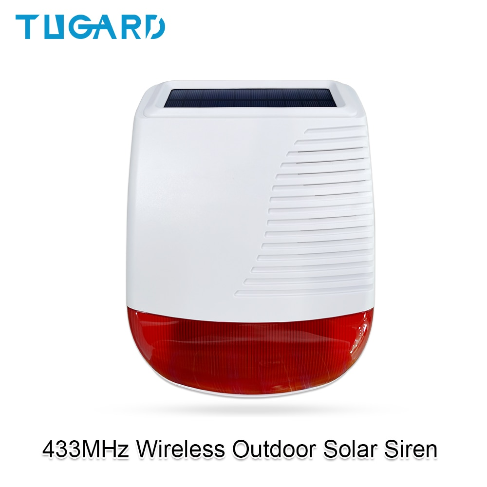 Tugard 433MHz Wireless Outdoor Solar Siren Light Flash Strobe Waterproof Alarm Siren for Home Security Burglar WiFi Alarm System недорого